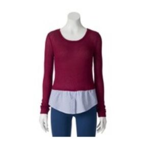 SO® Juniors' Mock-Layer Pullover Sweater